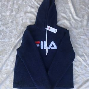 - navy blue fila sherpa hoodie